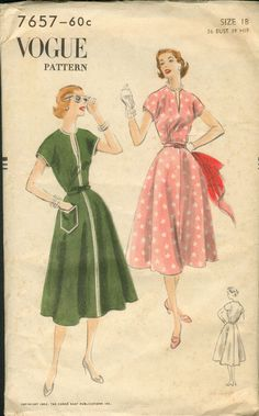 Vogue 7657 Vintage Sewing Pattern // Dress by studioGpatterns Moda Vintage, Vintage Vogue, Vintage Ladies, Fifties Fashion, Retro Fashion, Vintage Fashion, Vintage Style, Vintage Dress Patterns, Vintage Dresses