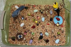 This sensory tub idea from Totally Tots is for the birds! It's also a great way to welcome spring! Pinned by SPD Blogger Network. - I would happily use this sensory box on the back porch and let the birds clean up :)