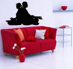 Wall Decals Vinyl Decal Sticker Murals Gym Decor Man Woman Meditation Yoga Kj189 #MuralArtDecals
