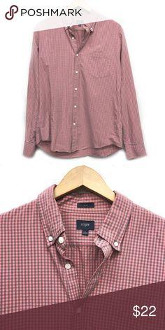 1577a01dfd19 Men s J Crew Pink Plaid Button Down Shirt Slim Fit Excellent Condition  Size  Large Color