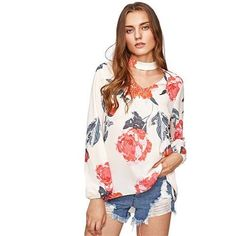 Flower Print Choker Neck Blouse, Tops for Fall, Ladies Blouse, Shirts for Fall, Online Clothing