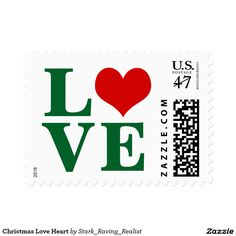 Christmas Love Heart custom Postage Stamps.