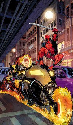 Marvel Comics Presents - Deadpool, Ghost Rider and Wolverine by Arthur Adams * Marvel Dc Comics, Marvel Wolverine, Bd Comics, Marvel Comic Universe, Marvel Art, Marvel Heroes, Comic Art, Comic Kunst, Comic Books Art