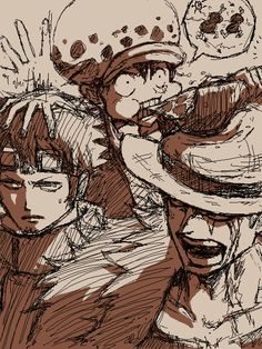 Luffy, Eustass Kid and Trafalgar Law