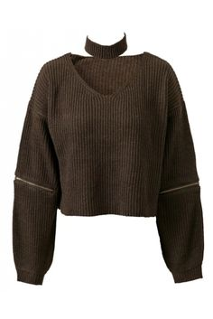 Army Green Zipper Knitted Sweater With Choker #10-30 #new #pullovers-sweaters