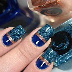 Glitterfinger Lexa — Closer look of this weeks manicure. Blue Nail Designs, Nail Polish Designs, Cool Nail Designs, Acrylic Nail Designs, Manicure, Gel Nails, Stylish Nails, Trendy Nails, Pretty Nail Art