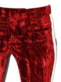 haider ackermann - women - pants - crushed velvet & leather skinny pants
