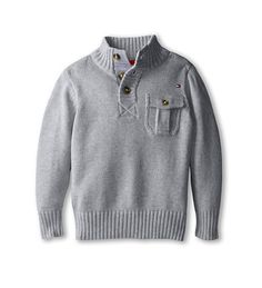 Button neck pullover from Tommy Hilfiger Kids. #sweaterweather #boys #clothing