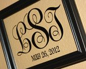 8x10 Monogram Wedding Gift (Yes, the frame is included)