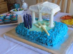 Percy Jackson themed cake for Samantha's 11th birthday...yes the cake was blue inside!