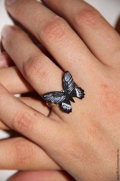 """Кольца ручной работы. Ярмарка Мастеров - ручная работа. Купить Кольцо бабочка """"Атрофаневра приап"""". Handmade. Черный, кольцо в подарок"""