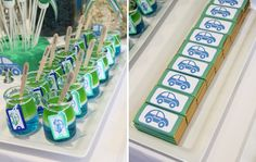 love the jello in the short milk bottles Car Themed Parties, Cars Birthday Parties, Car Birthday, Pretty Cars, Cute Cars, Car Themes, Holidays And Events, Event Ideas, Party Ideas