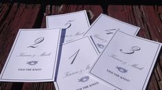 Nautical Wedding design - Printable nautical table numbers -- I will send you the pdf -you print them