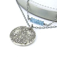 Double Strand Necklace London Blue Topaz and Sterling Silver by JenniferCasady, $53.60