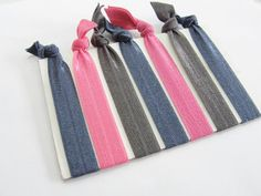 Set Of 7 Hair Ties Navy Charcoal Pink Yoga by SouthernStitchesCo, $6.50