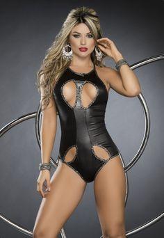 Lace Up Wet Look Romper #wetlook #bodysuit #teddy #romper #lingerie