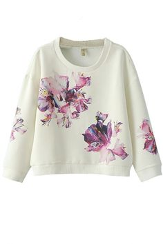 The sweatshirt featuring floral print. Cozy but still fashion, try this sweatshirt and pair it with a pear of jeans would create a perfect everyday outfit. Teenage Girl Outfits, Girls Fashion Clothes, Fashion Outfits, Floral Print Shirt, Floral Prints, Crazy Outfits, Long Sleeve, Fashion Sweatshirts, Cardigans