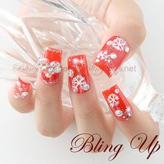 apanese Nail Art Bright Red Christmas Nail Art with Hand Painted Snowflakes, 3D Puffy Heart and Rhinestones