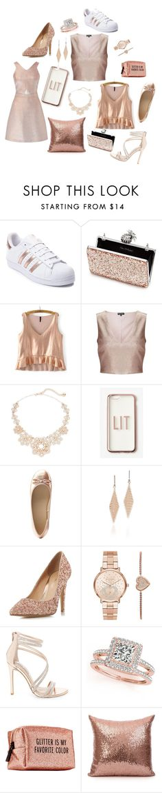 """""""25 Pretty Things Sold In Rose Gold"""" by hammiegrl on Polyvore featuring adidas, Miss Selfridge, Kate Spade, Missguided, Charlotte Russe, Tiffany & Co., Head Over Heels by Dune, Michael Kors, Steve Madden and Allurez"""