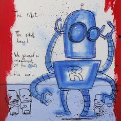 Achat et vente en ligne du tableau The robot danced de l´artiste peintre contemporain Jan Hein Arens en petit et grand format. Peinture en exposition à la galerie d´art contemporain Carré d´artistes. Idée cadeau original oeuvre d´art unique.