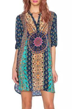 Ethnic V-Neck Long Sleeve Printed Dress For Women Print Dresses | RoseGal.com