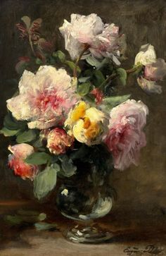Eugène Petit - Bouquet of Roses in a Glass Vase, Oil Art Floral, Paintings I Love, Beautiful Paintings, Images D'art, Still Life Flowers, Oil Painting Flowers, Rose Art, Art Auction, Art Pictures