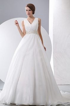A-Line V-Neck White Bridal Gowns sfp0556 - http://www.shopforparty.com/a-line-v-neck-white-bridal-gowns-sfp0556.html - COLOR: White; SILHOUETTE: A-Line; NECKLINE: V-Neck; EMBELLISHMENTS: Beading , Sash , Sequin; FABRIC: Organza - 188USD