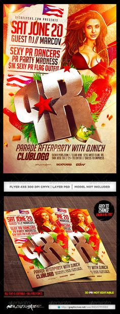 Latin Night Horizontal Flyer Template  Flyer Template Template