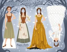 """A paper doll of Anna Kendrick as Cinderella in """"Into The Woods"""" Check out Paper Dolls by Cory on Facebook to download this and more!"""
