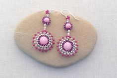 Top Ten Free Bead Patterns and Tutorials: Round in Circles Brick Stitch Earrings by Lisa Yang Jewelry