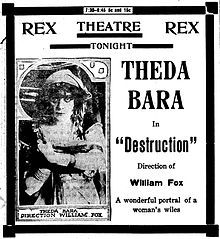 Lost (Newspaper ad). (Lost film). Theda Bara, J. Herbert Frank, James A. Furey, Gaston Bell, Warner Oland. Directed by Will S. Davis. Fox Film Corporation. 1915