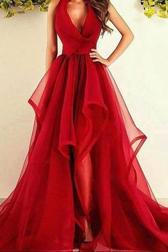 Sexy Red Prom Dress, Halter Tulle Prom Dress,
