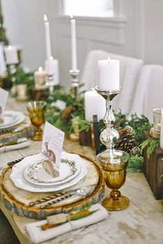 17 Chic Winter Wedding Tablescapes Youll Melt Over via Brit + Co Winter Wedding Centerpieces, Centerpiece Decorations, Decoration Table, Winter Wonderland Wedding, Winter Wedding Inspiration, Bridal Musings, Wedding Table Settings, Deco Table, Tablescapes