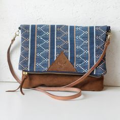 Natural leather and fabric purse / repurposed brown leather and tribal fabric / clutch bag