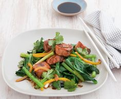 We're always looking for quick dinner ideas and this Michelle Bridges recipe for ginger salmon stir-fry with Chinese broccoli from her new book Get Real! is not only delicious but low in fat and calories. Cookbook Recipes, Gourmet Recipes, Diet Recipes, Cooking Recipes, Healthy Recipes, Delicious Recipes, Easy Recipes, Gourmet Foods, Diet Meals