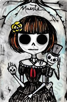 Death and I Guardian Death art print. Day of the dead sugar skull painting. Art By Lupe Flores Memento Mori, Sugar Skull Painting, Day Of The Dead Art, Mexican Art, Mexican Skulls, Gothic Art, Skull And Bones, Skull Art, Pin Up Girls