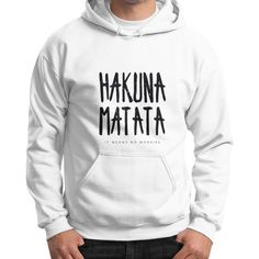 Gildan Hoodie (on man) White Bees Gift Ideas Hakuna Matata- Gildan Hoodie (on man) by Lion King  Fun quotes on hoodies for men. Brighten up the cold day.