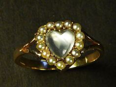 A lovely antique English, solid 9 carat gold and silver (stamped, tests) ring. Beautifully made, with knife-edge shoulders, its millegrain-edged flower-shaped head is set with colourless glittering pastes. Antique Gold Rings, Gold Pearl, Heart Ring, Victorian, English, Pearls, Antiques, Natural, Ebay
