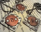 Monogram Jewelry - Hand Stamped Necklace - Initial Necklace - Mixed Metal with Cold Connections & Rivets - Bridesmaid Necklace- CIJ