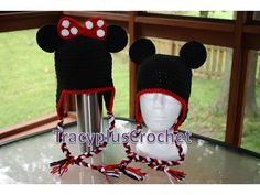 Crochet Mickey or Minnie Mouse inspired hats by TracyplusCrochet, $17.00