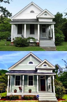 A before and after photo of a house which used porch posts turned by Century Porch Post Inc. What a beautiful difference!