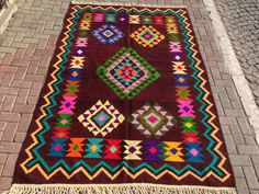 Turkish Anatolian Kilim Rug Vegitable and Natural by TARZANPILLOW