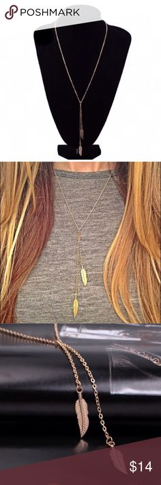 """Boho Feather Pendant Necklace Dainty boho necklace with feather pendants. 18.25""""L with 2"""" extender. The pendants drops 3.25"""" & 4.25"""". Gold tone nickel free alloy metal. BeautyShinesOn Jewelry Necklaces"""