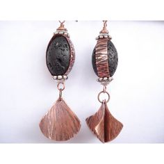 Black Lava Hammered Copper Wrapped Earrings Dangle Rustic Handmade... ($32) ❤ liked on Polyvore featuring jewelry and earrings