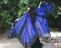 Butterfly blue wings cape scarf dance wings costume adult Monarch Fairy cloak…