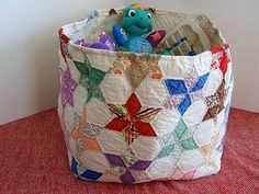 Giant Quilted Basket. re-purposed vintage quilts