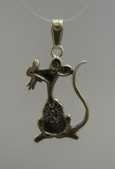 "PE000784 Sterling silver pendant solid 925 Rat by EmpressSilver  $7.80  project ""Cat & Mouse"" bracelet"