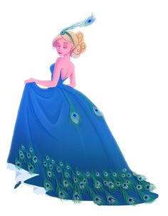 Aelin [The peacock dress by *Katikut on deviantART] Character Design Cartoon, Character Drawing, Character Illustration, Character Concept, Posca Art, Peacock Dress, Barbie Movies, Throne Of Glass, Disney Art