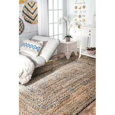 Mistana Destrie Striped Handmade Braided Cotton Blue Area Rug Rug Size: Oval x Braided Rug Diy, Bedroom Rug, Natural Jute Rug, Diy Rug, Rugs, Braided Area Rugs, Grey Carpet, Area Rugs, Handmade Kilim Rugs