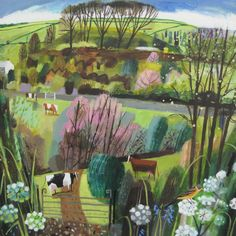 -Spring, Castle Mound- acrylic 60x60cms - Mary Sumner Children's Book Illustration, Nature Illustrations, Country Art, Naive Art, Fantastic Art, Paint Designs, Abstract Landscape, Garden Art, Printmaking